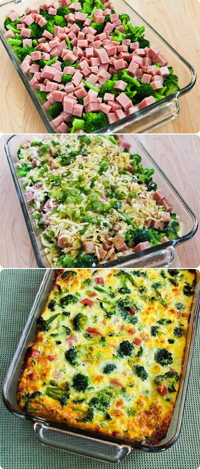 Broccoli, Ham, and Mozzarella Baked with Eggs – Cook your food