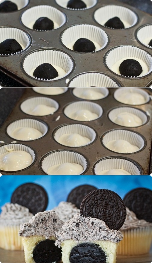 Oreo Truffle Stuffed Cupcakes With Cookies & Cream Frosting – Cook ...