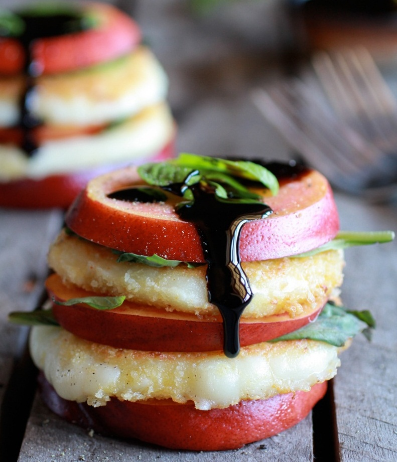 Fried Mozzarella, Basil and Nectarine Stacks with Balsamic Glaze ...