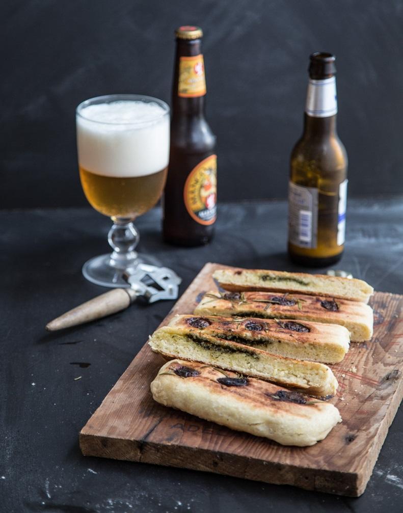 Herb Pesto Stuffed Grilled Flatbread