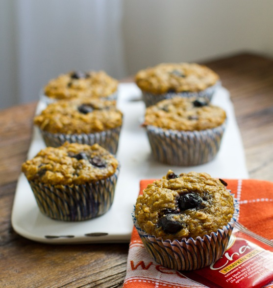 Pumpkin Chai Oatmeal Blueberry Muffins