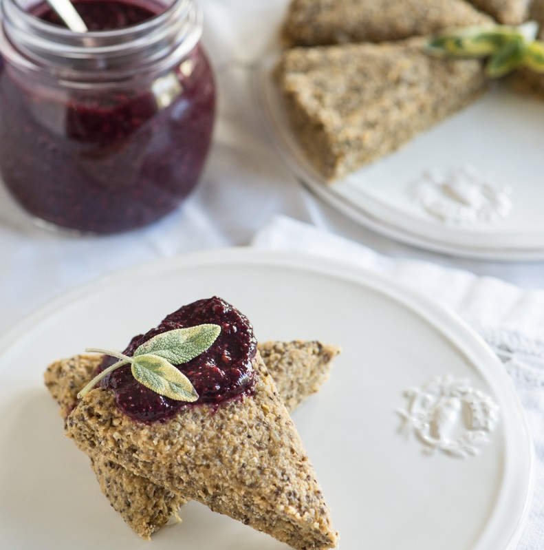 Raw Lemon Scones with Blackberry Sage Jam