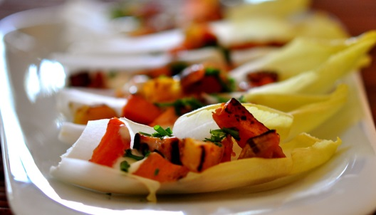 Sweet Potato and Bacon in Endive Boats