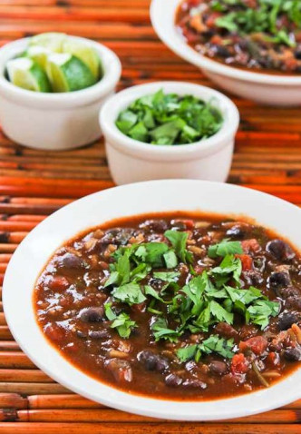 Vegetarian Black Bean and Rice Soup with Lime and Cilantro
